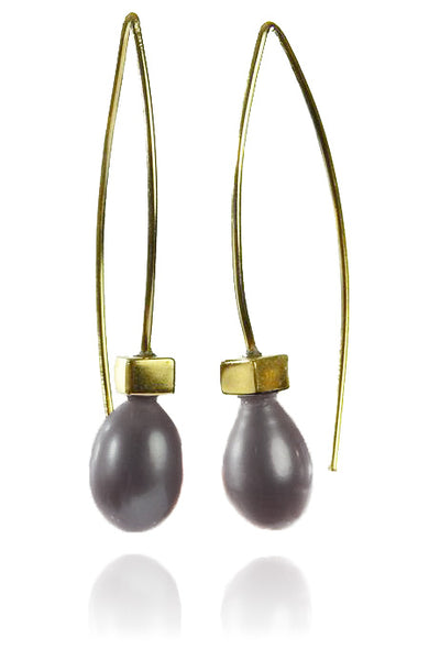18K Gold Plated Euro Pin Drop Pearl Earrings Grey Pearl