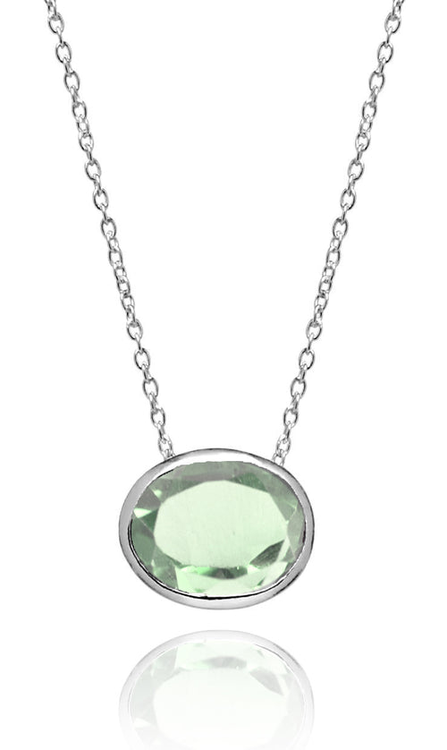 Floating Oval Pietra Necklace Green Amethyst