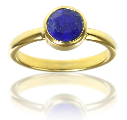 18K Gold Plated Stackable Jaipuri Circle Ring Lapis Lazuli