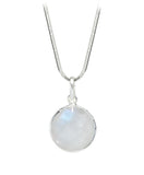 Arabesque Round Cutout Pendant White Moonstone