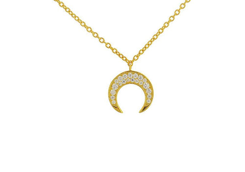 "Tiny cz crystalsadorn this mini horn pendant. Hangs along a dainty chain. Perfect for layering. Details:  24kt gold vermeil cz accents 16"" long with 2"" extender"