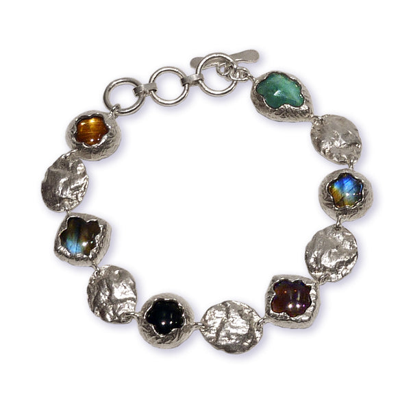 Golden Dome Bracelet Multi Stones