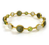 Gold Plated Art Deco Pop Bangle Labradorite, Peridot, White Moonstone