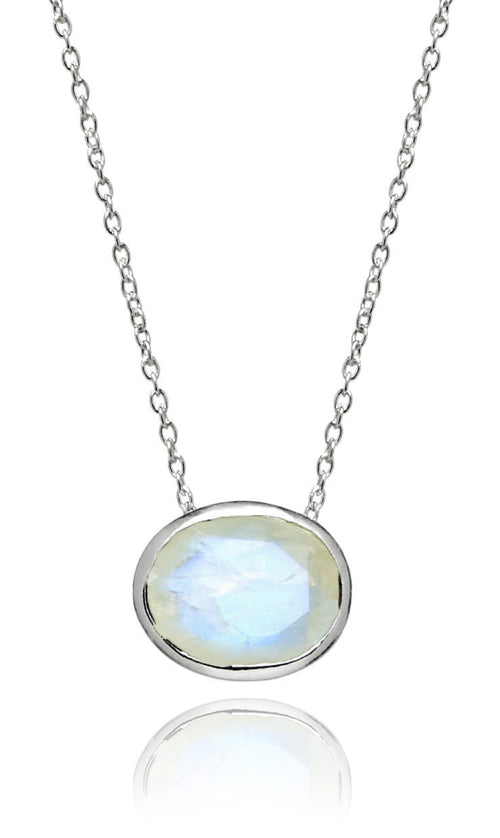 Floating Oval Pietra Necklace White Moonstone