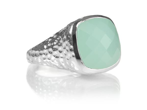 Gaudi Pointalism Square Cocktail Ring Aqua Chalcedony