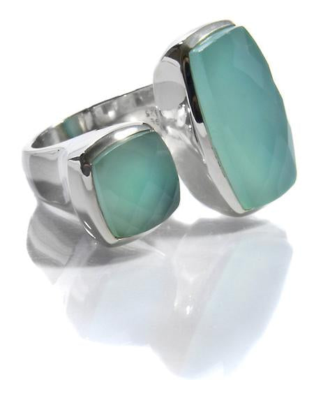 Two Stone Non-Connect Ring Aqua Chalcedony