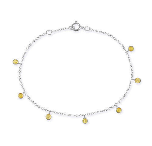 7 Stone Kathak Dangle Bracelet Citrine
