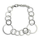 Small-Large Circle Silver Linked Bracelet