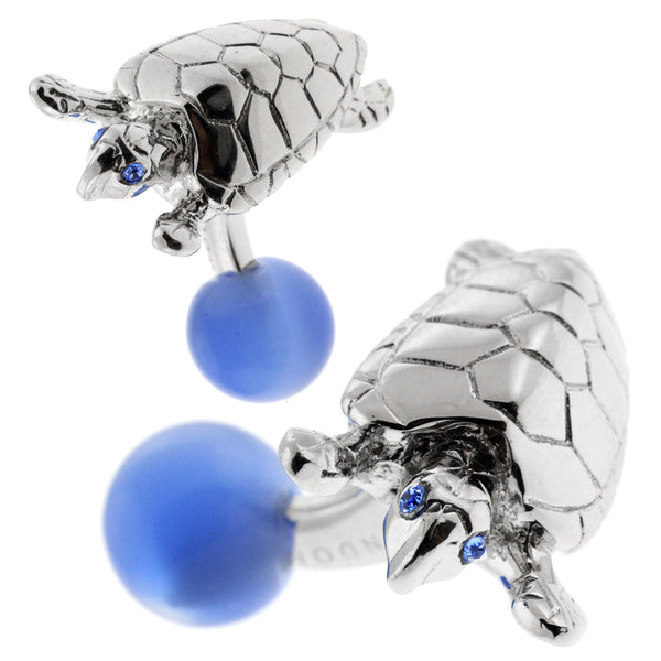 Turtle Cufflinks (Rhodium Plated with Cat's Eye)