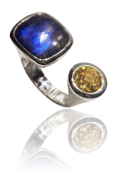 Mexico City Art Deco Ring Labradorite and Citrine