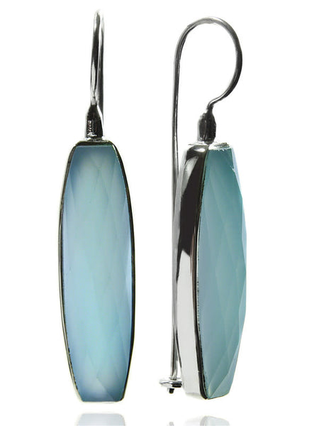 Mini Faceted Vertical Drop Earrings Aqua Chalcedony