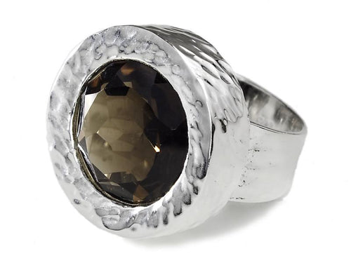 Battered Stone Circle Cocktail Ring Smokey Quartz