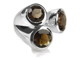 Three Stone Jaipuri Non-Connect Ring Smokey Quartz
