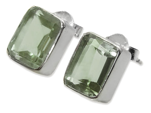 Small Square Gemstone Studs Green Amethyst