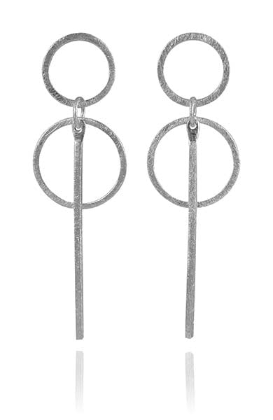 Euro Loop Earrings Grey Pearl