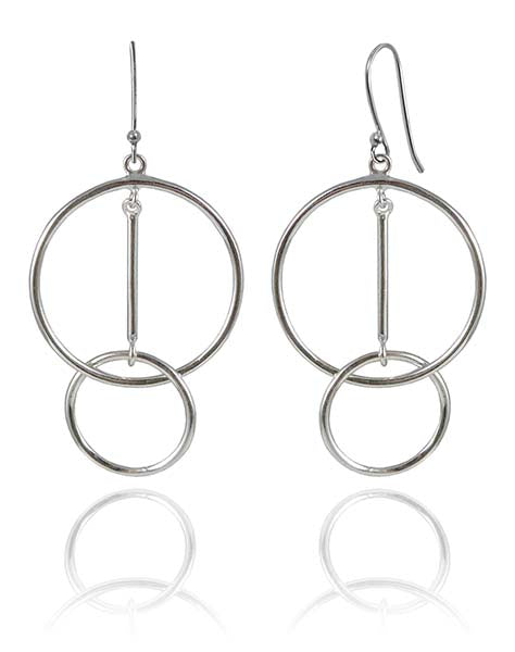 Big Circle with Dangling Interlocking Mini Circle Earrings