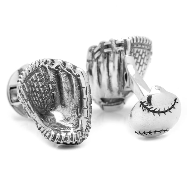 Sterling Silver Baseball Glove Cufflinks