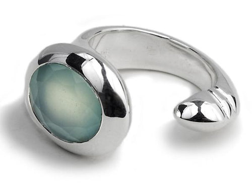 Oval Maidan Ring Aqua Chalcedony