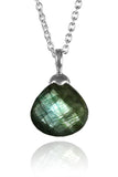 Jaipuri Quartz Drop Pendant with Chain Labradorite