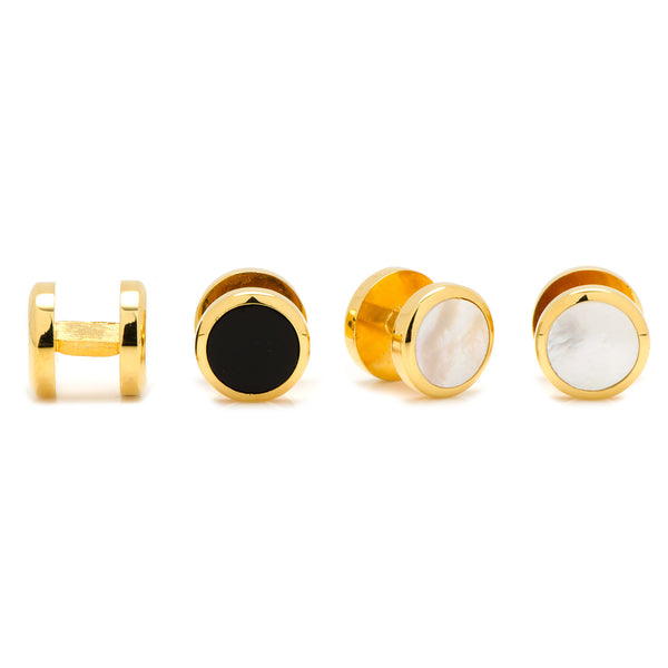 Double Sided Gold Onyx and Mother of Pearl Round Beveled Stud Set