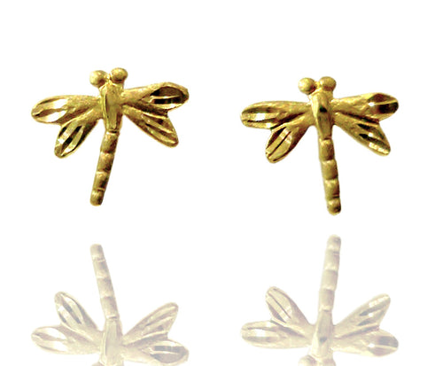 14k Gold Dragonfly Studs
