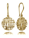 18K Gold Plated Indian Linen Circle Earrings