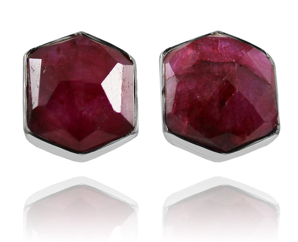 Basilica Studs Rough Cut Ruby