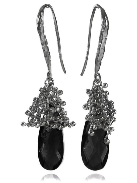 Oblong Burst Earrings Black Onyx
