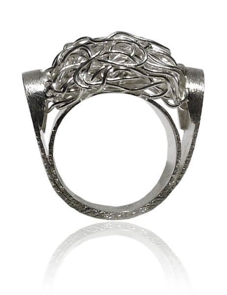 Criss Cross Ring with Brushed Band