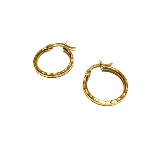 10K Medium Hammered Hoops