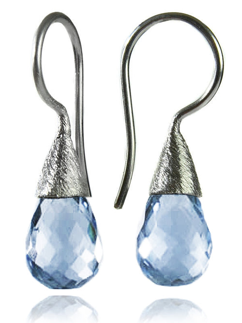 Small Quartz with Brushed Top Earrings Blue Topaz