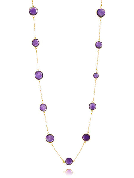 18K Gold Plated Faceted 17 Stone Capri Long Necklace Amethyst
