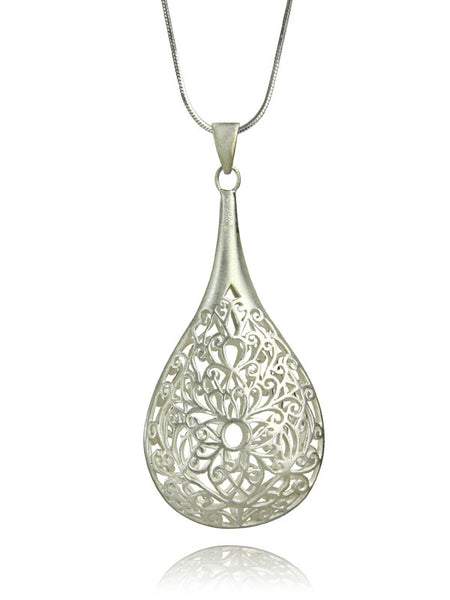 Large Arabesque Filigree Teardrop Pendant