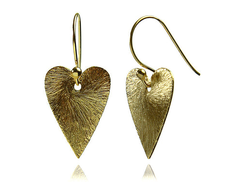 18K Vermeil Brushed Heart Earrings