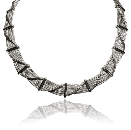 Floating Oval Pietra Necklace Smokey Quartz