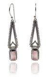 Hinged Temple Drops Pink Chalcedony
