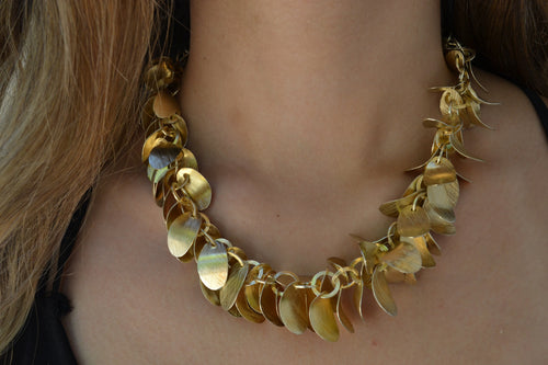 18K Gold Plated Brushed Leaf Necklace