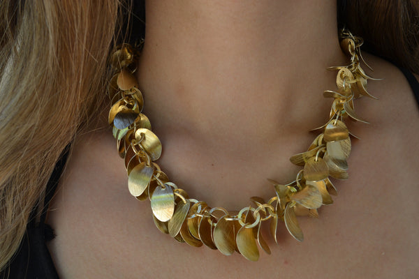 18k Vermeil Brushed Leaf Necklace