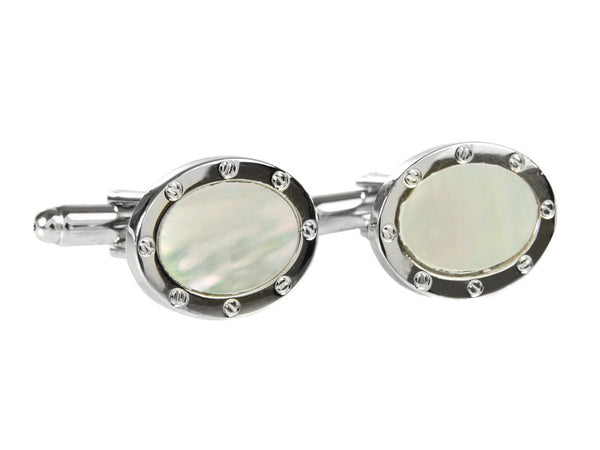 Mother of Pearl Cufflinks (Stainless Steel Rhodium)