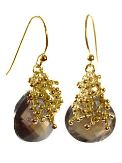 18K Vermeil Small Burst Earrings Smokey Quartz