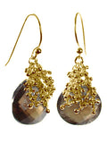 18K Gold Plated Small Burst Earrings Smokey Quartz