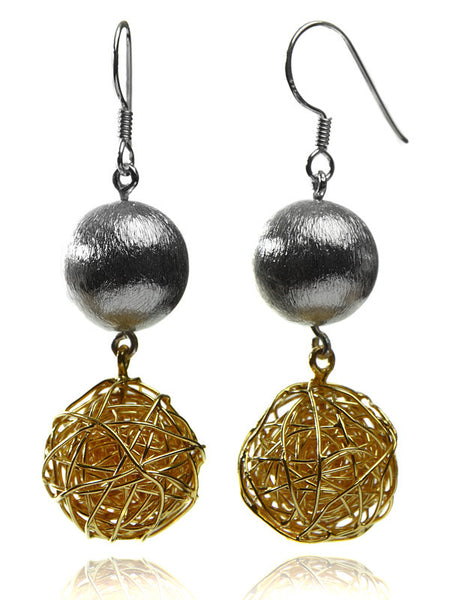 Zamalek Wire Wrap and Satin Ball Earrings