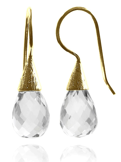 18K Gold Plated Small Quartz with Brushed Top Earrings Clear Quartz