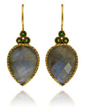 Fancy Peacock Earrings Labradorite and Green Tourmaline