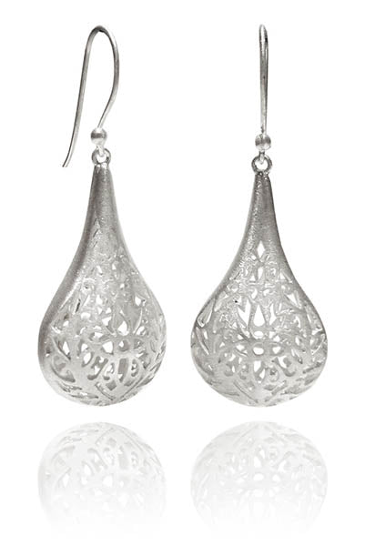 Filigree Tear Drop Dimensional Earrings