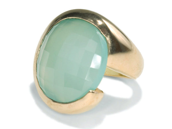 18K Gold Plated San Pietro Cocktail Ring Aqua Chalcedony