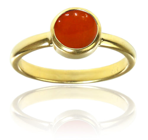 18K Gold Plated Stackable Jaipuri Circle Ring Carnelian 8