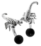 Scorpion Cufflinks (Rhodium Plated with Cat's Eye Black)