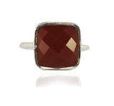 Capri Large Stackable Square Ring Carnelian