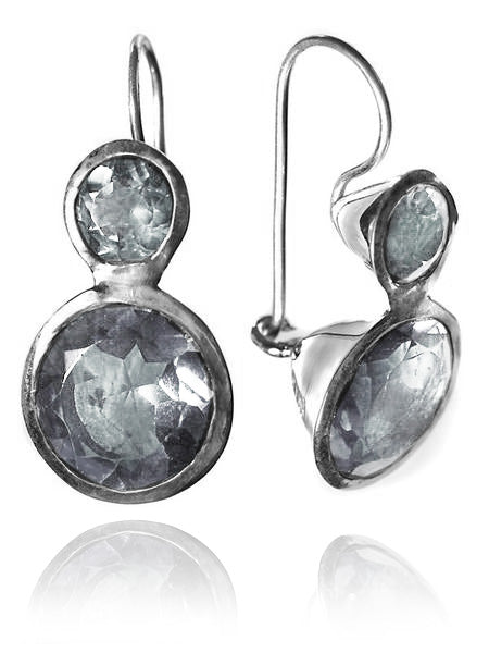 Gaudi Circle Classic Stone Earrings Smokey Quartz